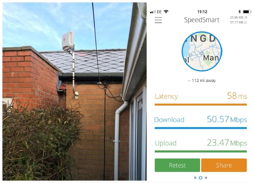 outdoor antenna and speed test from a customer